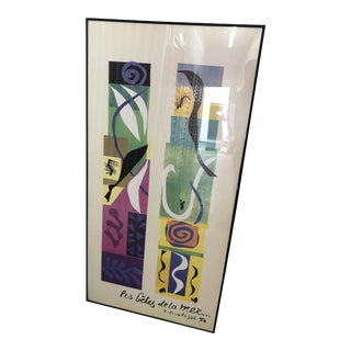 "1950s Vintage Framed Henri Matisse ""Les Betes De La Mer"" Reproduction Lithograph Print For Sale"