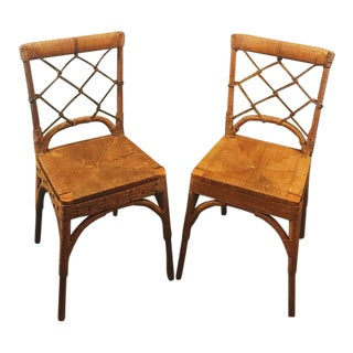 Vintage Rattan Chinese Chippendale Chairs - A Pair