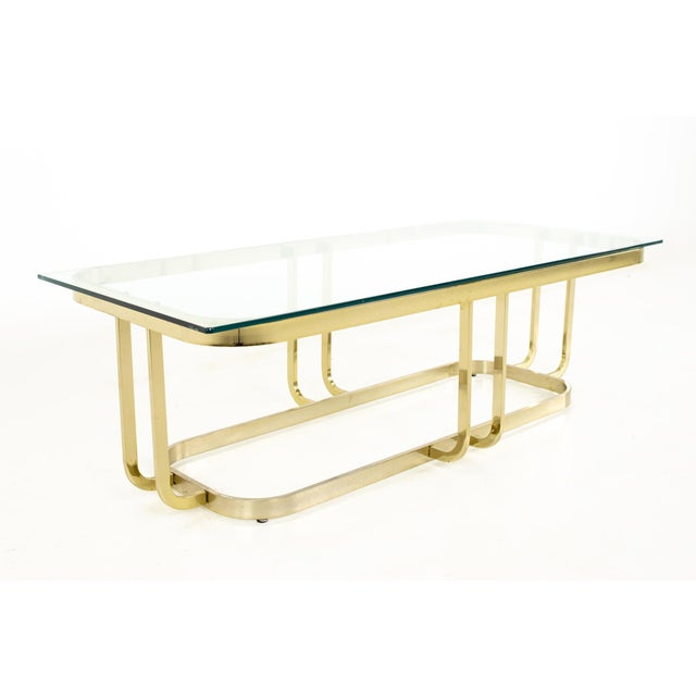 Milo Baughman Style Mid Century Brass and Glass Coffee Table For Sale - Image 12 of 12