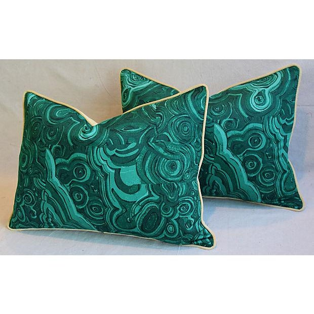 """25"""" X 18"""" Custom Tailored Jim Thompson Malachite Green Feather/Down Pillows - Pair For Sale In Los Angeles - Image 6 of 11"""
