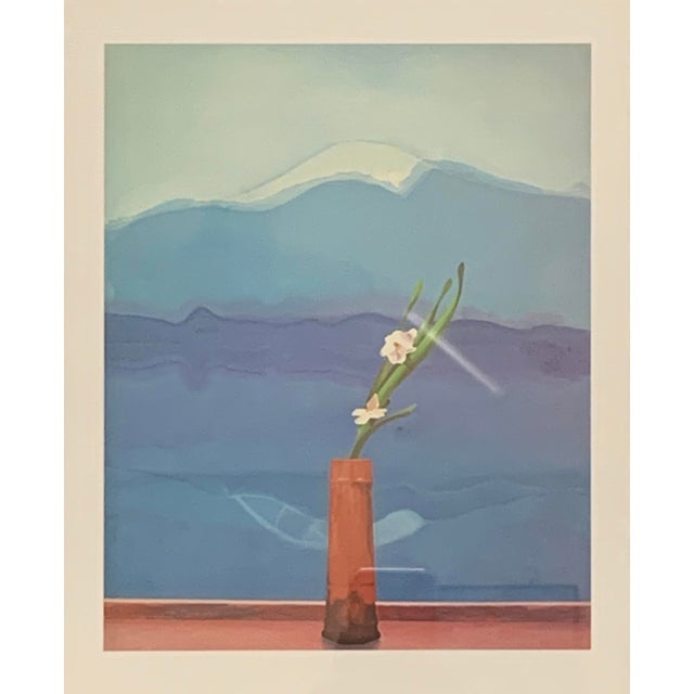 """Contemporary Pop Art Framed Museum Lithograph """"Mount Fuji and Flowers"""" by David Hockney For Sale - Image 3 of 11"""
