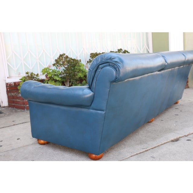 Teal Leather Sofa - Image 10 of 11