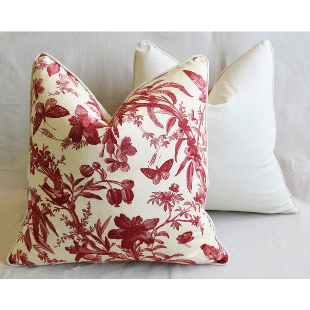 "P. Kaufmann Aviary & Floral Toile Feather/Down Pillows 23"" Square - Pair For Sale - Image 11 of 13"