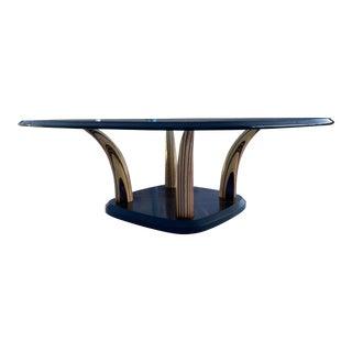 Mid-Century Modern Zebra Wood Faux Tusk Hardwood Base Heavy Glass Top Coffee Table by Henredon For Sale