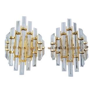 Venini Style Crystal Sconces - a Pair For Sale