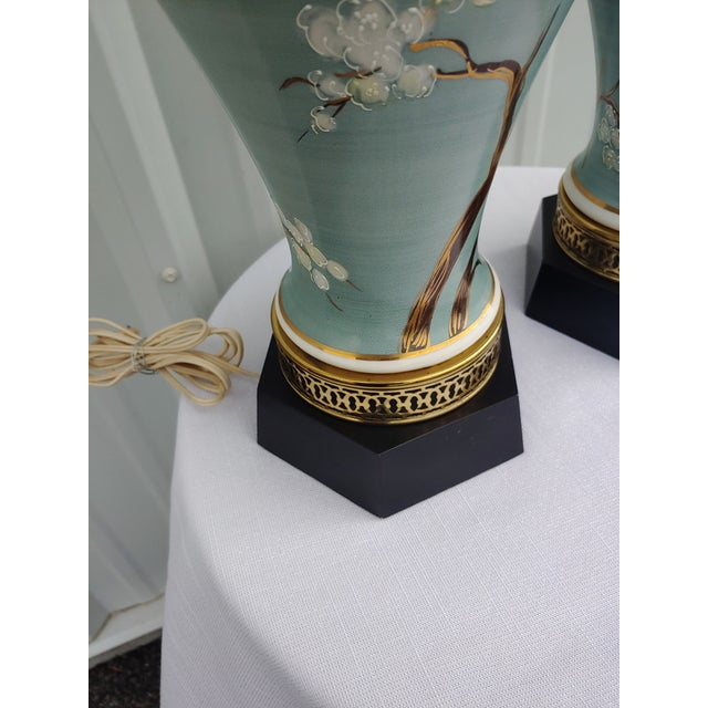 1960s Vintage 1960s Japanese Hand Painted and Brass Lamps - a Pair For Sale - Image 5 of 7