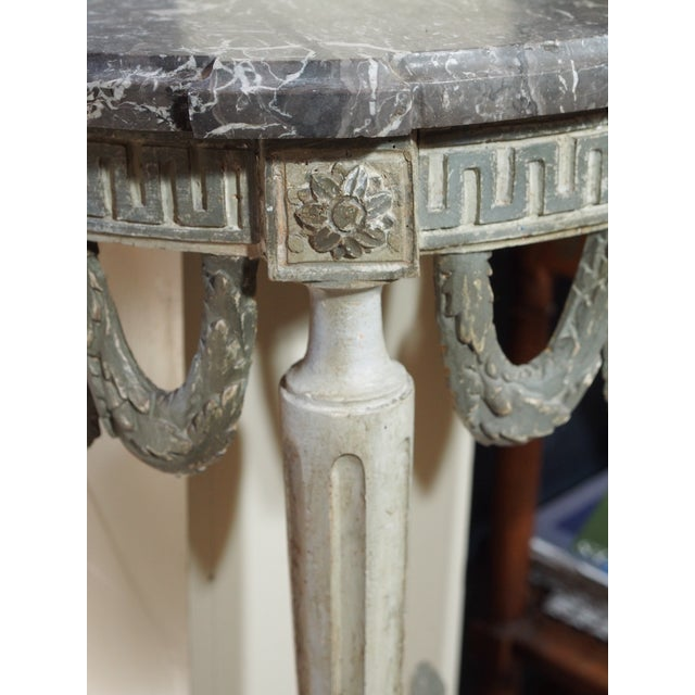 Marble Louis XVI Style Demi Lune Console For Sale - Image 7 of 8