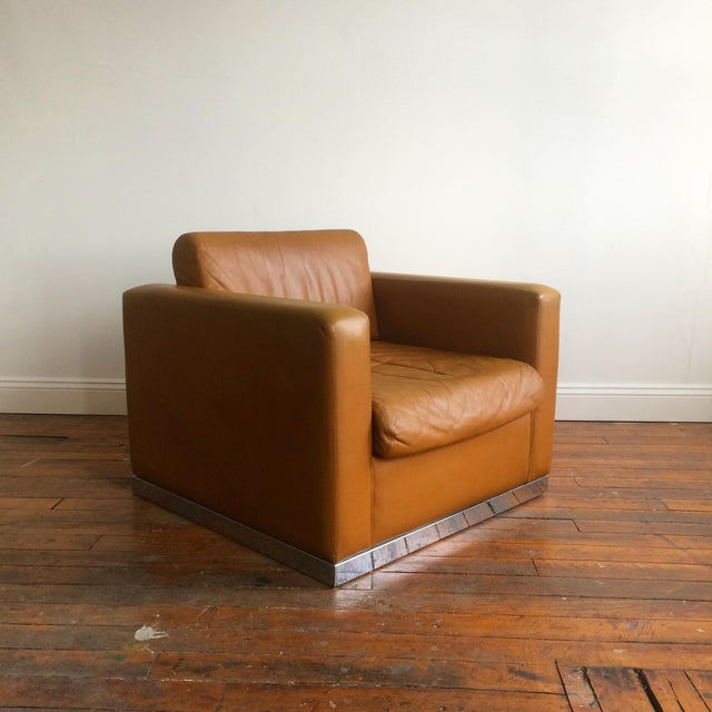 John Geiger Camel-Colored Leather Club Chair - Image 4 of 8