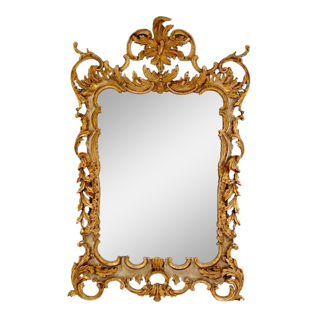 Vintage Italian Gilt and Painted Mirror For Sale