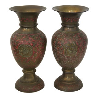 1970s Indian Brass Enamel Floral Vases - a Pair For Sale