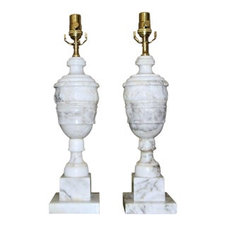 Italian Alabaster Urn Motif Table Lamps - a Pair For Sale