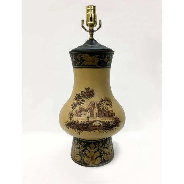 1980s Yellow Orca Wooden Urn Lamp For Sale - Image 5 of 7