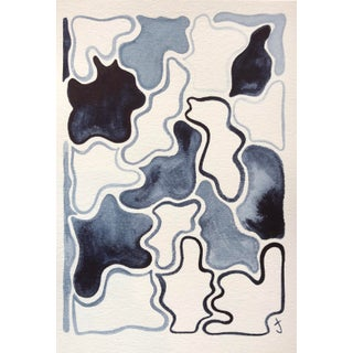 Pieces in Navy #1 Original Watercolor Painting For Sale