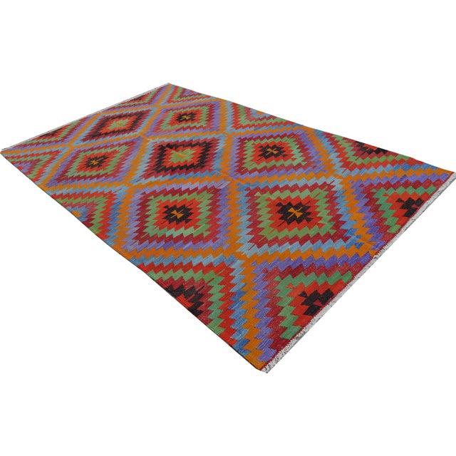 Turkish Wool Zig-Zag Kilim - 5′9″ × 9′7″ - Image 1 of 9