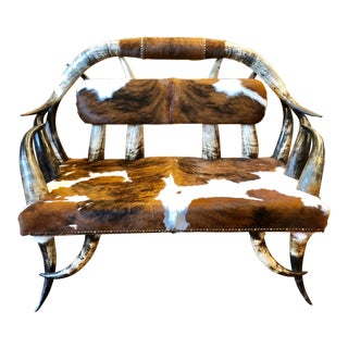 Cattle Horn and Cowhide Upholstered Bench For Sale