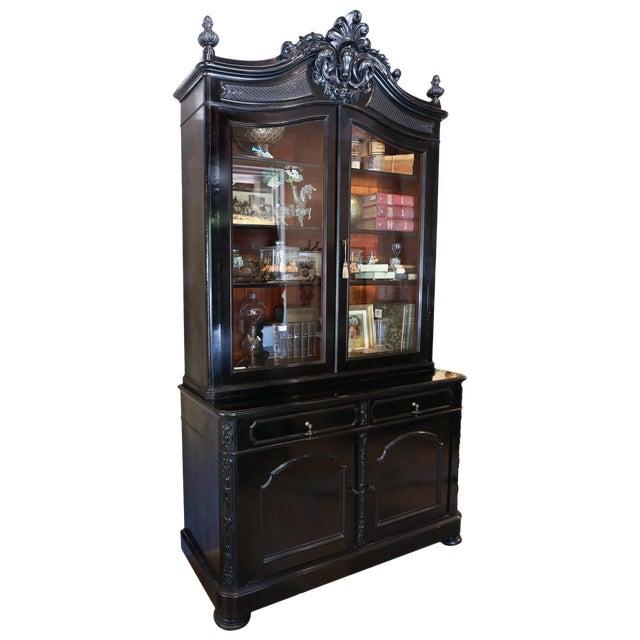 1900s Belgian Ebonized Wood Deux Corps Biblioteque Vitrine Bookshelf For Sale