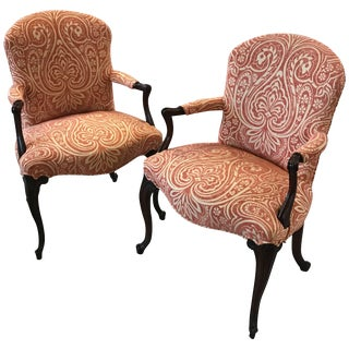 1920s Traditional Mahogany Bergere Chairs - a Pair