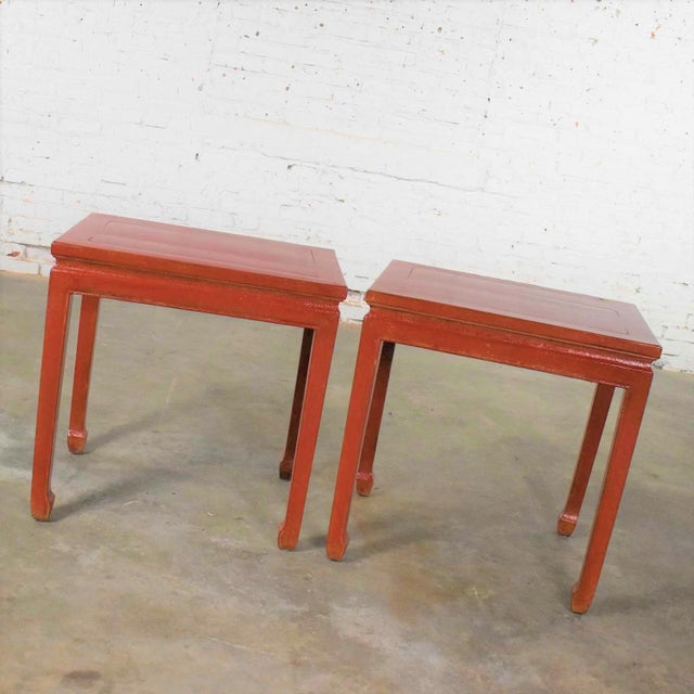 Mid 20th Century Asian Ming Style Chinese Crackle Red Lacquer Rectangular End Tables - a Pair For Sale - Image 10 of 13