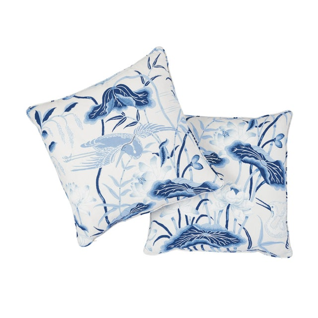 Contemporary Schumacher Lotus Garden Pillow in Porcelain For Sale - Image 3 of 6