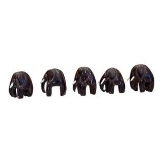 1970s Boho Chic Carved Elephants For Sale
