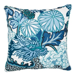 Schumacher Chiang Mai Dragon Indoor/Outdoor Pillow in China Blue For Sale