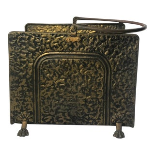 Vintage Brass Claw Foot Fireplace Log Holder For Sale