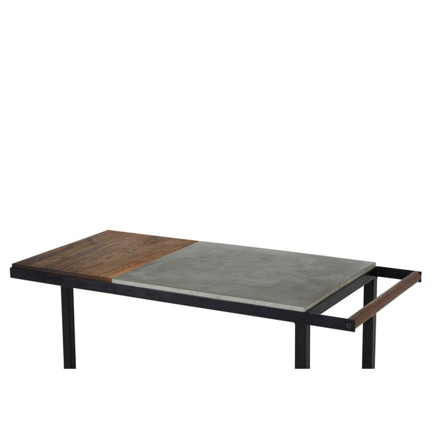 Concrete Steel and Walnut Bar Cart For Sale In New York - Image 6 of 9