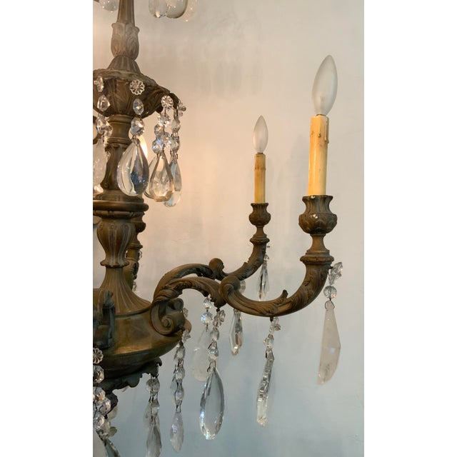 Late 19th / Early 20th Century French Bronze Chandelier With Rock Crystals For Sale - Image 10 of 13