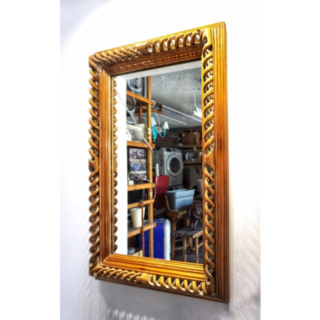 Vintage Mid-Century English Carved Walnut Barley Twist Mirror For Sale - Image 9 of 13
