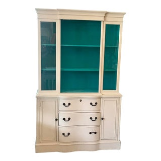 Ivory Painted China Cabinet For Sale