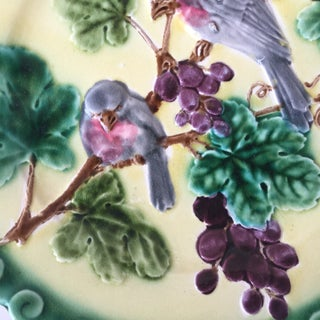 1880 Majolica Birds With Grapes Sarreguemines Plate Preview