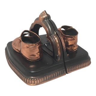 Ornate Copper Baby Shoes Book Stands - a Pair