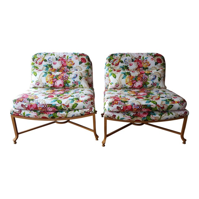 Floral Chairs with Iron Bases - A Pair - Image 1 of 5