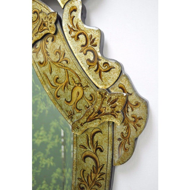 "Gold 47"" X 29"" Decorator Contemporary Venetian Style Gold Etched Shield Wall Mirror For Sale - Image 8 of 11"