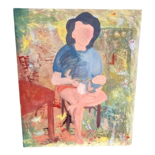 Mid Century Mother and Baby Oil Portrait For Sale