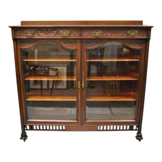 Antique American Victorian Paw Feet Carved Mahogany China Cabinet Bookcase Curio For Sale