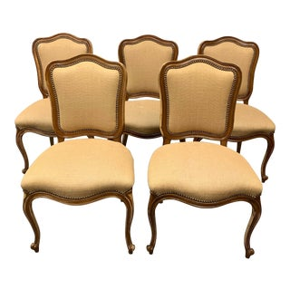 Distressed Bergere Side Chairs + Nailhead Trim - Set of Five For Sale