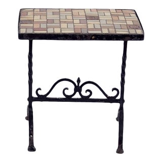 Batchelder Tile-Top Hand-Forged Iron Side Table For Sale