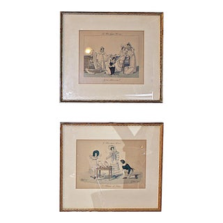 Antique French Fashion Plates Mounted and Framed - Set of 2 For Sale