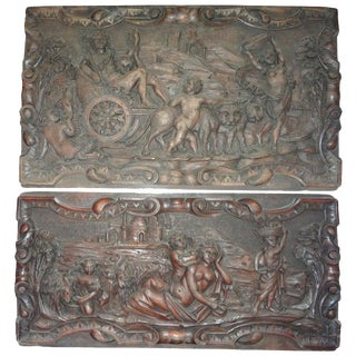 19th Century French Renaissance Style Carved Wood Architectural Panels-A Pair For Sale
