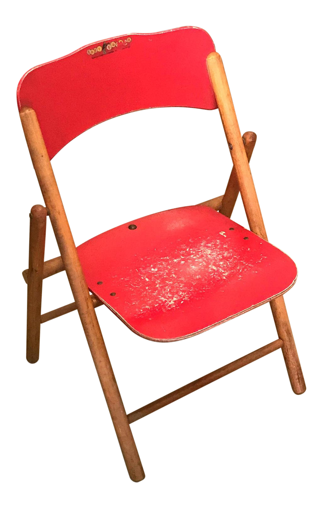 Vintage Red Children S Wood Folding Chair
