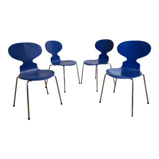 Authentic Arne Jacobsen for Fritz Hansen Blue Ant Chairs, Set of 4 For Sale