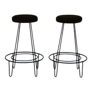 1950s Minimalistic Bar Stools With Brown Suede Seats - a Pair For Sale