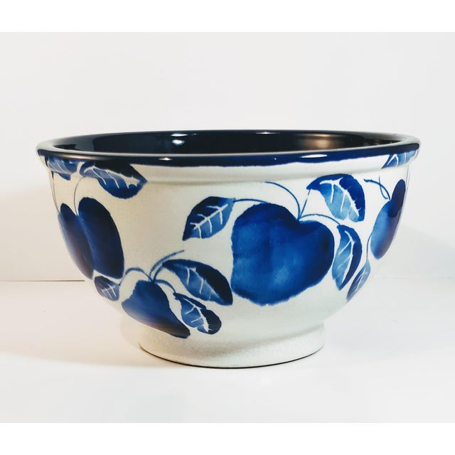 Vintage Fruit Bowl Blue White made and stamped Italy on bottom. Gorgeous large solid mixing or fruit bowl. Great cobalt...