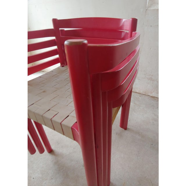 1980s Danish Modern Niels Jorgen Haugesen Red Dining Chairs - Set of 4 For Sale In Baltimore - Image 6 of 13