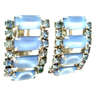 1960's Silver Blue Glass Moonstone & Swarovski Crystal Earrings For Sale