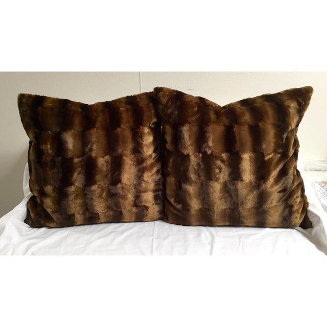 Contemporary Oversized Faux Mink Pillows - A Pair - Image 4 of 6