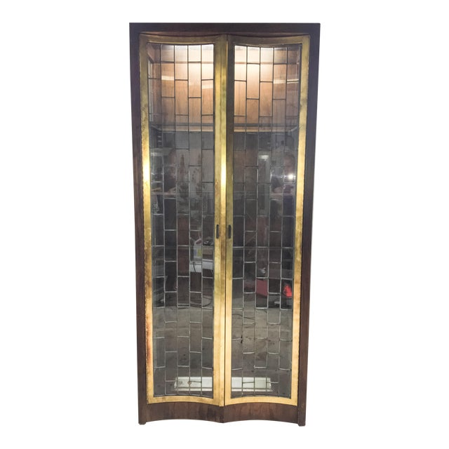 Heritage Mid-Century Modern Brass & Lead Glass Cabinet - Image 1 of 6