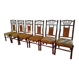 Rustic Lake Cabin Country Adirondack Dining Chairs - Set of 6 For Sale