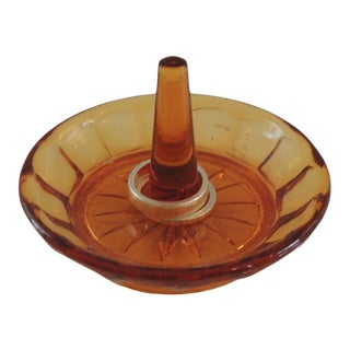 Round Amber Color Glass Ring Holder For Sale